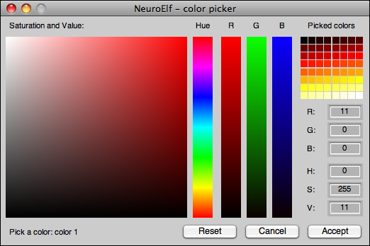 colorpicker with a palette of colors (colormap 'hot')